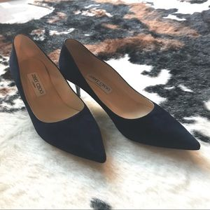Jimmy Choo Navy Suede Kitten Heel